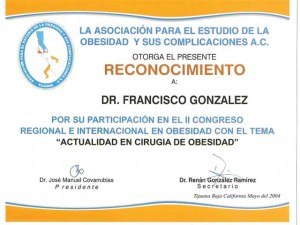 Bariatric surgery certificate - Dr. Francisco Gonzalez