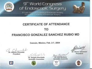 Endoscopic Surgery Certificate - Tijuana Bariatric Surgeon