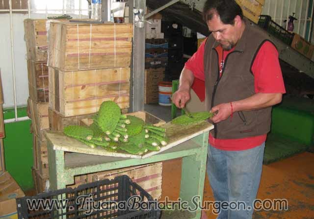 Man peeling cactus - Tijuana, Mexico